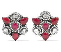 Ohrringe Aus 18 Karat Gold Und Sterling Mit Rubinen Und Diamanten