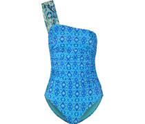 Bedruckter Badeanzug mit asymmetrischer Schulterpartie