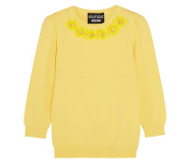 Pullover Aus Jersey Mit Applikationen Und Kristallen - Gelb