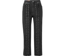 Hoch Sitzende Jeans mit Geradem Bein und Schnürung -