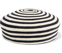 Gestreiftes Berett aus einer gewebten Hanf-Baumwollmischung