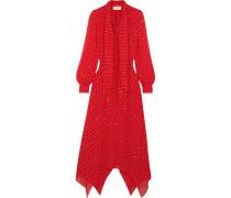 Schluppenkleid Aus Seiden-georgette Mit Glitter - Rot