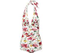 Floral Bedruckter Badeanzug mit Neckholder und Raffungen -