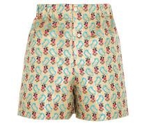 Shorts Aus Floralem Jacquard - Gold