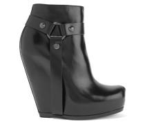 Ankle Boots Aus Leder Mit Keilabsatz - Schwarz
