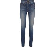 Halbhohe Skinny Jeans In Distressed-optik -
