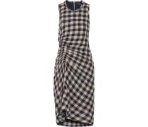 Kleid Aus Einer Karierten Woll-leinenmischung Mit Raffung -