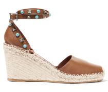 Espadrille-sandalen Aus Strukturiertem Leder Mit Keilabsatz -