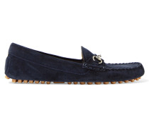Loafers Aus Veloursleder Mit Horsebit-detail - Navy