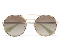 Sonnenbrille Mit Rundem Rahmen Aus Azetat In Hornoptik Mit farbenen Details