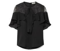 Bluse aus Crêpe aus einer Seidenmischung mit Spitze und Volants -