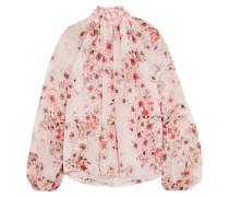 Bluse Aus Seiden-georgette Mit Besatz Aus Guipure-spitze Und Blumenprint -