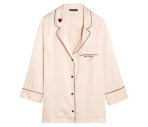 Jude Besticktes Pyjama-hemd Aus Satin - Creme