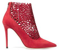 Maurice Ankle Boots Aus Veloursleder Mit Lasergeschnittenen Cut-outs - Rot