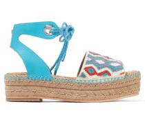 Neera Espadrille-sandalen Aus Leder Mit Kunstperlenverzierung -