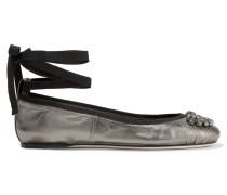 Grace Kristallverzierte Ballerinas Aus Metallic-leder - Stahlgrau