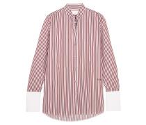 Gestreiftes Hemd Aus Baumwoll-twill - Burgunder