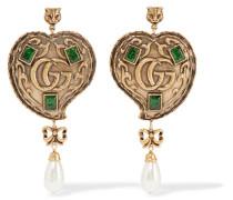 Brünierte Goldfarbene Ohrringe Mit Kunstperle Und Kristallen -
