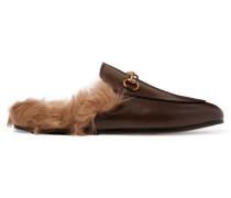 Slippers Aus Leder Mit Shearling-futter Und Horsebit-detail - Braun