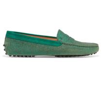 Gommino Loafers Aus Leder Mit Glitter-finish Und Velourslederbesatz -