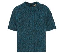 Pullover Aus Einer Gerippten Wollmischung Mit Metallic-effekt - Blau