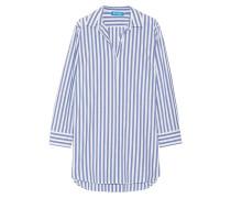 Gestreiftes Hemd In Oversized-passform Aus Baumwolle - Blau