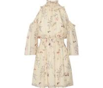 Meade Minikleid Aus Floral Bedrucktem Seidenchiffon Mit Cut-outs -