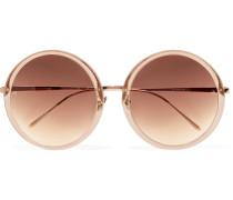 Sonnenbrille mit rundem Rahmen aus Azetat und roségoldfarbenem Metall