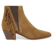 Ankle Boots Aus Veloursleder Mit Fransen - Braun