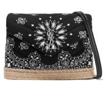 Loulou Toy Bedruckte Schultertasche aus Leder und Gesteppter Baumwolle