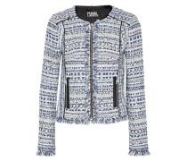 Jacke Aus Tweed In Metallic-optik Mit Satinbesatz Und Fransen - Blau