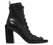 Ankle Boots Aus Leder Mit Schnürung - Schwarz