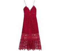 Kleid Aus Guipure-spitze Mit Georgette-besatz Und Rüschen -