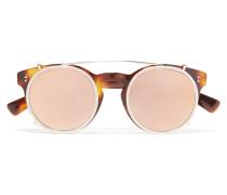 Sonnenbrille Mit Rundem Rahmen Aus Azetat Mit Goldfarbenen Verzierungen -