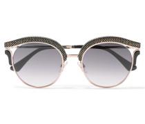 Lash/s Cat-eye-sonnenbrille Aus Veloursleder Und Goldfarbenem Metall -