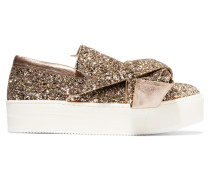 Sneakers Aus Leder Mit Glitter-finish Und Knotendetail -