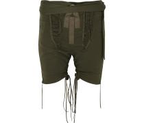 Twill-shorts aus einer Baumwoll-leinenmischung mit Schnürungen -