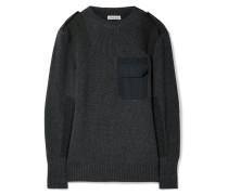 Pullover Aus Merinowolle Mit Twill-besatz -