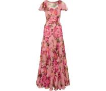Robe Aus Seidenchiffon Mit Floralem Print -