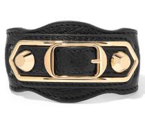 Metallic Edge Armband Aus Strukturiertem Leder Mit Goldfarbenen Details -