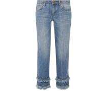 Verkürzte Boyfriend-jeans Mit Fransen -