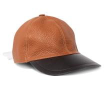 Zweifarbige Baseballcap Aus Leder -