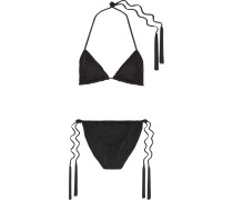Mare Wendbarer Triangel-bikini Aus Strick In Häkeloptik - Schwarz