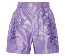 Shorts Aus Seiden-jacquard Mit Blumenprint - Lavendel