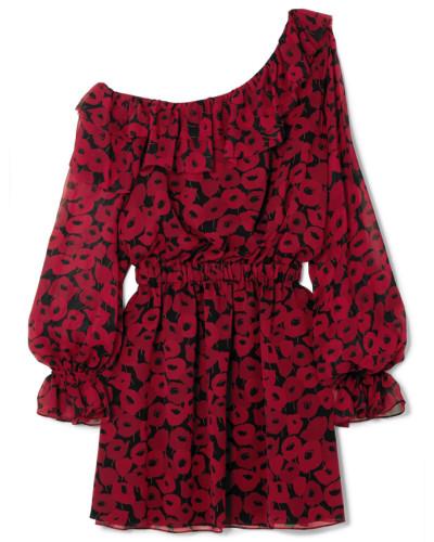Minikleid aus Seiden-georgette mit Floralem Print und Asymmetrischer Schulterpartie -