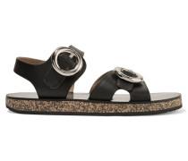 Sandalen Aus Leder Und Kork Mit Schnallen - Schwarz