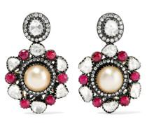 Ohrringe aus 14 Karat  und Sterlingsilber mit Mehreren Steinen