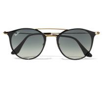 Sonnenbrille Mit Rundem Rahmen Aus Azetat Und Goldfarbenen Details - Schwarz