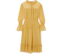 Kleid Aus Seide In Knitteroptik Mit Rüschen -