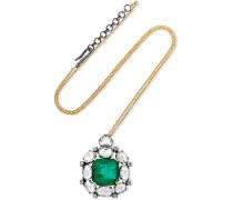 Kette Aus 18 Karat Gold Und Sterling Mit Smaragd Und Diamanten